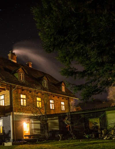 Wooden house at night, Austria